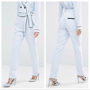 ASOS Lavish Alice Baby Blue Tie Belt Slim Trousers